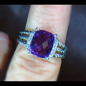 David Yurman Amethyst Silver Petite Wheaton Ring